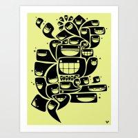 Happy Squiggles - 1-Bit Oddity - Black Version Art Print