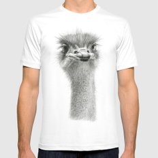 Cute Ostrich Expression SK055 SMALL Mens Fitted Tee White