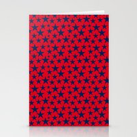 Blue stars on bold red background illustration. Stationery Cards