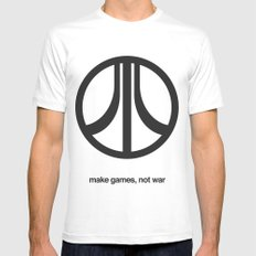 Make Games, Not War SMALL White Mens Fitted Tee