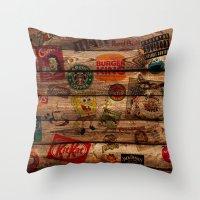 Wooden Wall Of Brands Throw Pillow