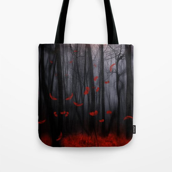 Red feather dance  -  by Viviana Gonzalez Tote Bag