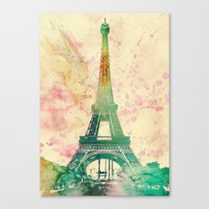 Paris Eiffel tower watercolor poster Canvas Print