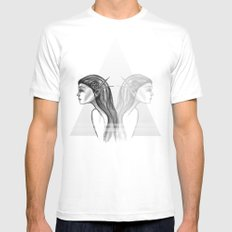Double  White Mens Fitted Tee SMALL