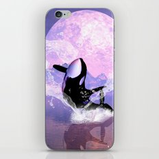 Orca jumping by a heart  iPhone & iPod Skin