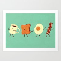 rabbit Art Prints featuring Let's All Go And Have Breakfast by Teo Zirinis