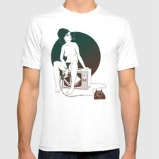 4 AM White SMALL Mens Fitted Tee