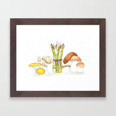 asparagus and mushrooms Framed Art Print
