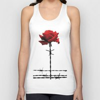 Barbed wire red rose Unisex Tank Top