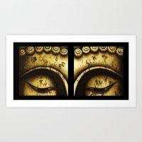 Buddha Eyes Diptych  Art Print