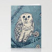 Winter Snowy Owl Stationery Cards