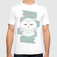 Friendly Owl Mens Fitted Tee White SMALL