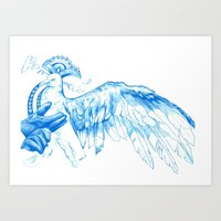 Like Soaring Through the Heavens in Blue Art Print