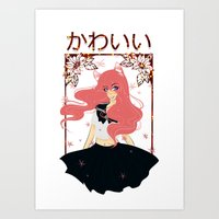 Kawaii Neko Anime Girl Art Print