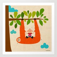 Sloth Swing Art Print