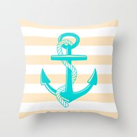 Tan And Teal Anchor Throw Pillow