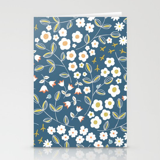 Ditsy Blue Stationery Card