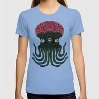 Octopus Brains Womens Fitted Tee Tri-Blue SMALL