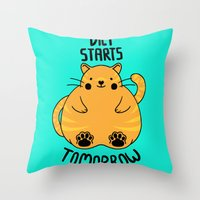 Diet Starts Tomorrow! Throw Pillow