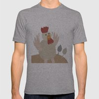 Rooster Collage Mens Fitted Tee Athletic Grey SMALL
