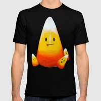 Candy Corn Family Mens Fitted Tee Black SMALL