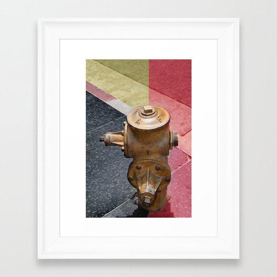 Sunset fire hydrant Framed Art Print