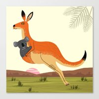 The Kangaroo and The Koala Canvas Print