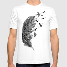 Feather Birds BW Mens Fitted Tee White SMALL