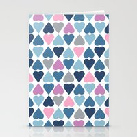 Diamond Hearts Pink Stationery Cards