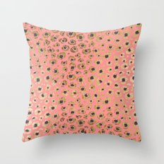 Chic Faux Gold and Black Cheetah Print on Coral Throw Pillow