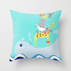 Taxi Whale Throw Pillow