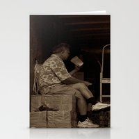 Man eating inside the van. Chinatown, New York City Stationery Cards