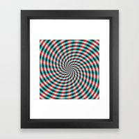 Turquoise And Red Spiral… Framed Art Print