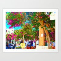 Purple flowers in Mykonos Art Print
