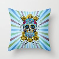 Sugar skull- Day of the dead- blue Throw Pillow