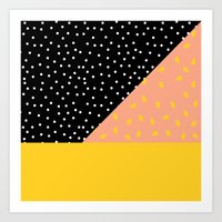 Peach Fuzz Black Polka D… Art Print