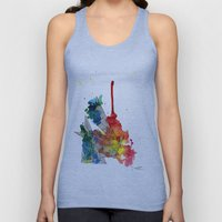 Watercolor and Fine Liner Triangles Unisex Tank Top
