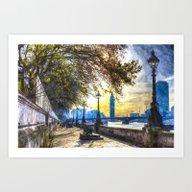 River Thames Path Waterc… Art Print