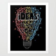 Ideas need light (black version) Art Print