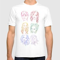 Rainbow Minimal Portraits Mens Fitted Tee White SMALL