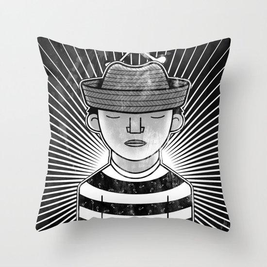 Fisher Man B/W Throw Pillow