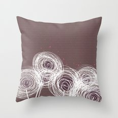 Doodle Flowers in Purple by Friztin Throw Pillow