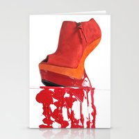 Dripping Red Shoe Stationery Cards