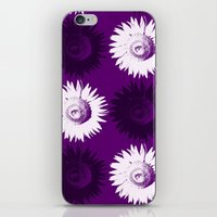 Sunflower Black, White A… iPhone & iPod Skin