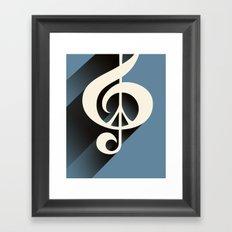 Steal Blue Retro Music & Peace Framed Art Print