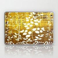 White leaves decor on golden background Laptop & iPad Skin