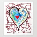 scribble heart Art Print