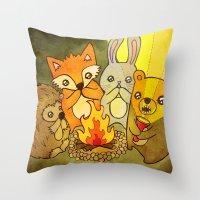 Woodland Campfire Storie… Throw Pillow