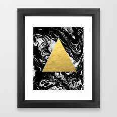 Layden - triangle black and gold marble trendy hipster gift idea cell phone case minimal abstract  Framed Art Print