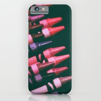 iPhone & iPod Case featuring crayons, pinks & purples by rachel kelso